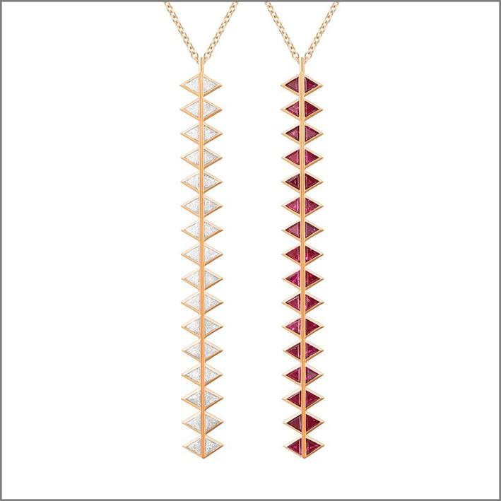 Pendente di collana reversibile con diamanti e rubini. Prezzo: 3960 dollari