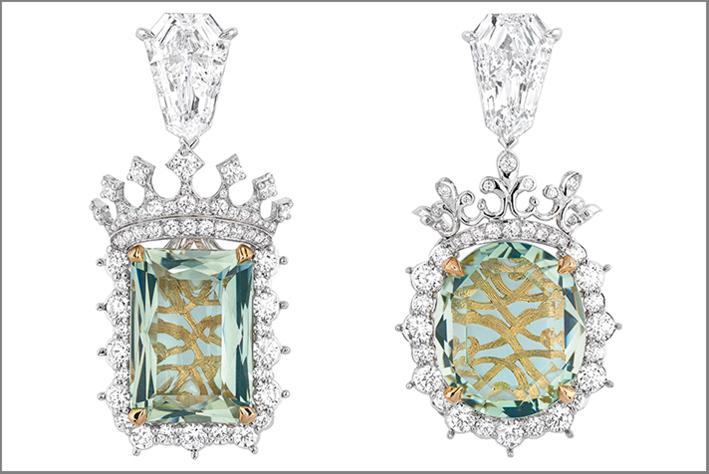 Dior, alta gioielleria, orecchini in oro bianco, diamanti, berillo verde