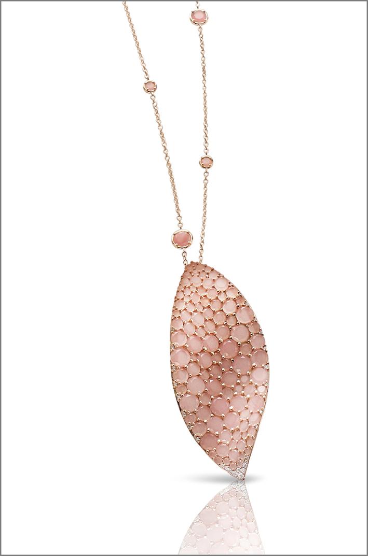 Pasquale Bruni, pendente in oro e calcedonio rosa