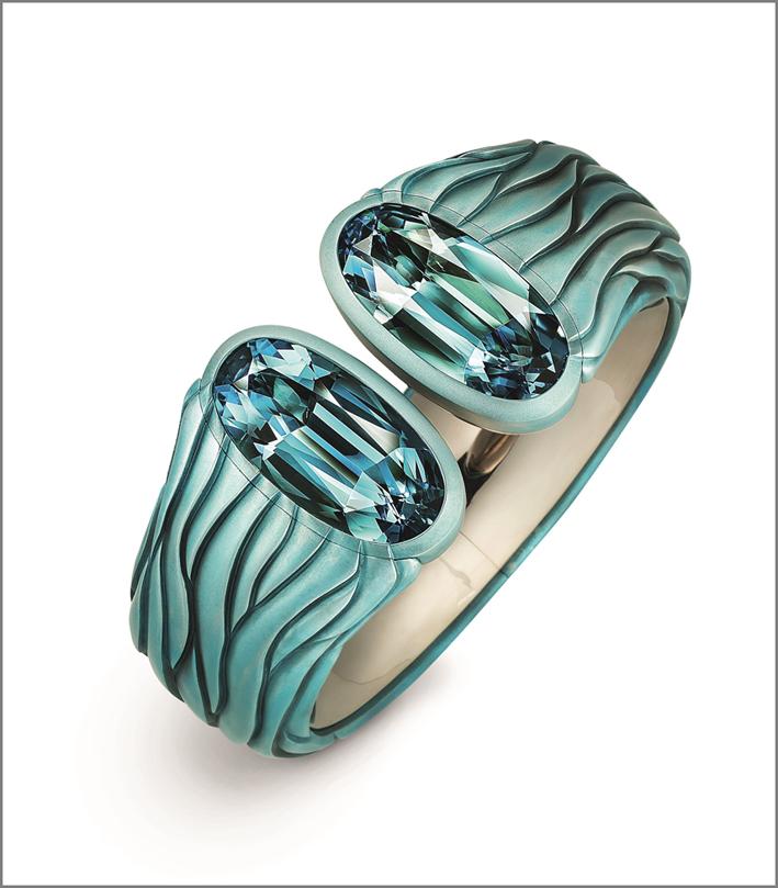 Hemmerle, bracciale Harmony con acquamarina, alluminio e oro bianco