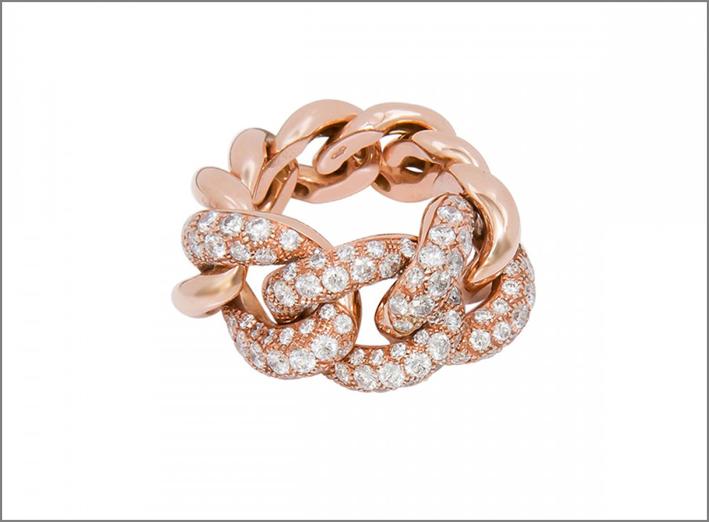 Netali Nissim, linea Flexi, anello in oro rosa e diamanti