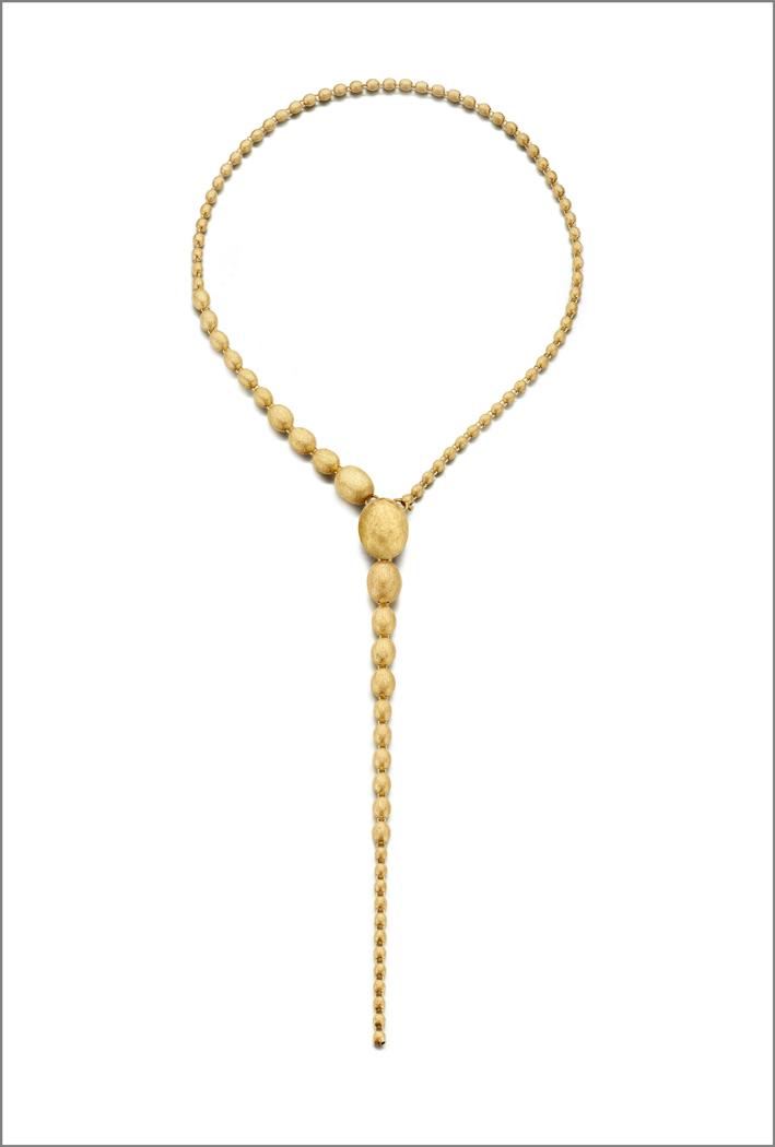 Collana regolabile in oro graffiato