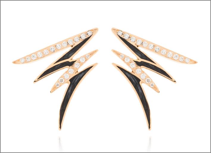 Orecchini Diamondaze in oro rosa, diamanti e dipinti a mano