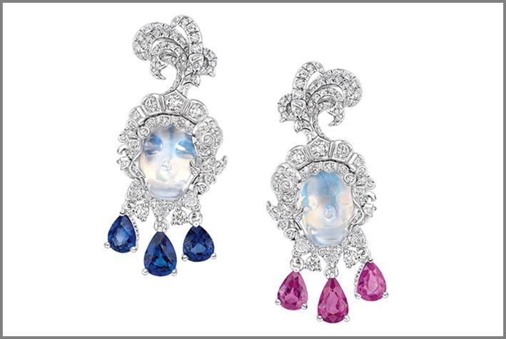 Dior, alta gioielleria, orecchini in oro bianco, pietra luna, zaffiro, ametista