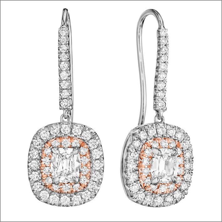 Orecchini a goccia con diamanti, oro bianco e rosa