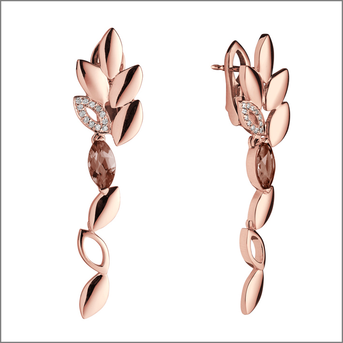 Orecchini pendenti in oro rosa con quarzo fumé e diamanti