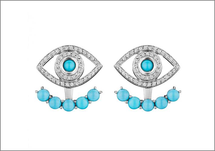 Netali Nissim, orecchini in oro bianco, diamanti e turchesi