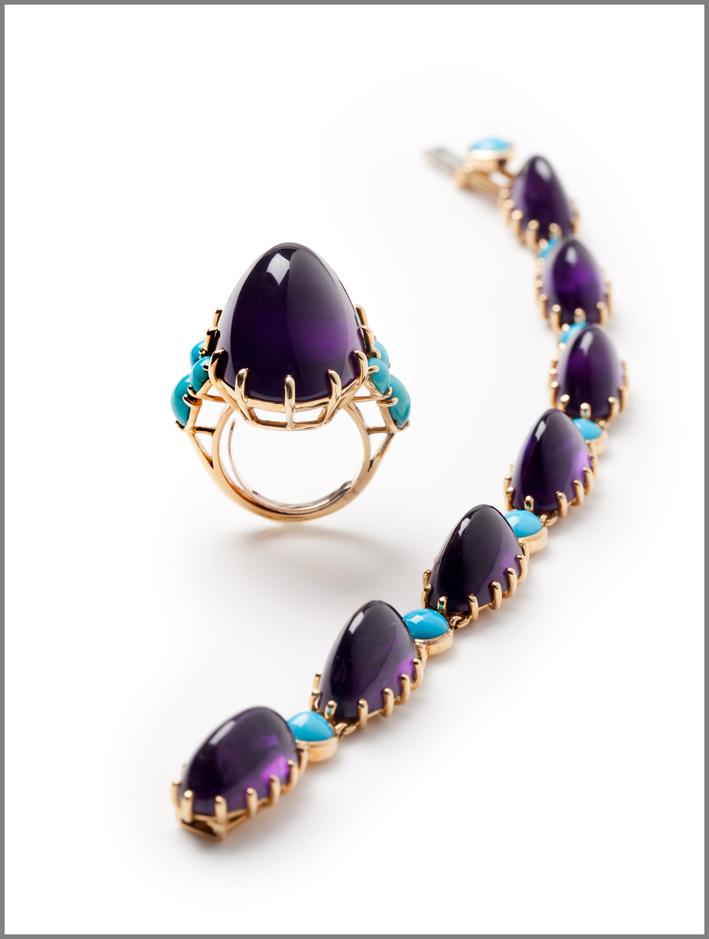 Cartier, bracciale e anello in oro giallo 18 carati, ametista, turchese (1966-1969)