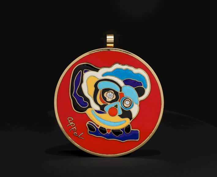 Pendente o spilla di Karel Appel, oro giallo, diamanti e smalto