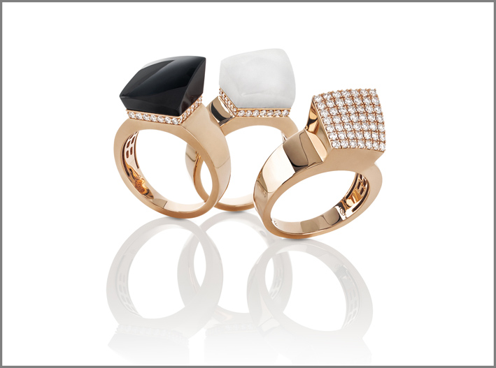 Rose gold rings with black and white jade and diamonds