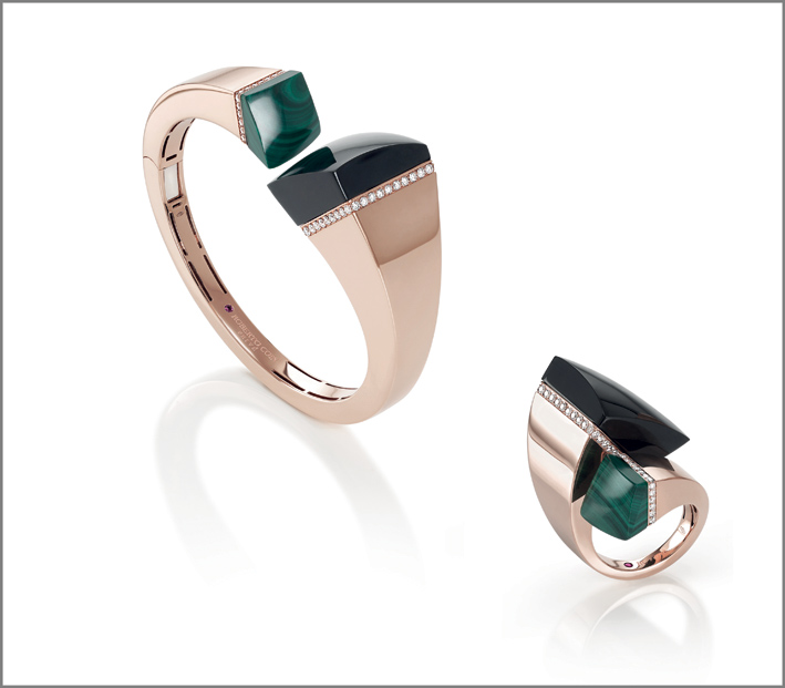 Rose gold cuff and ring with black jade, malachite and diamonds