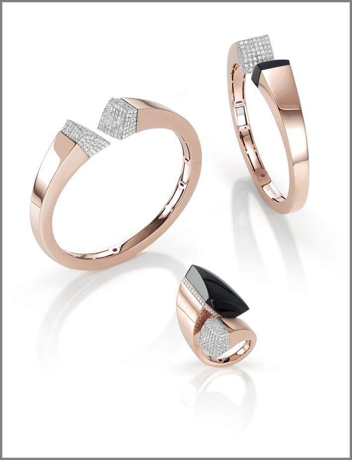 Rose gold cuffs and ring with black jade and diamonds
