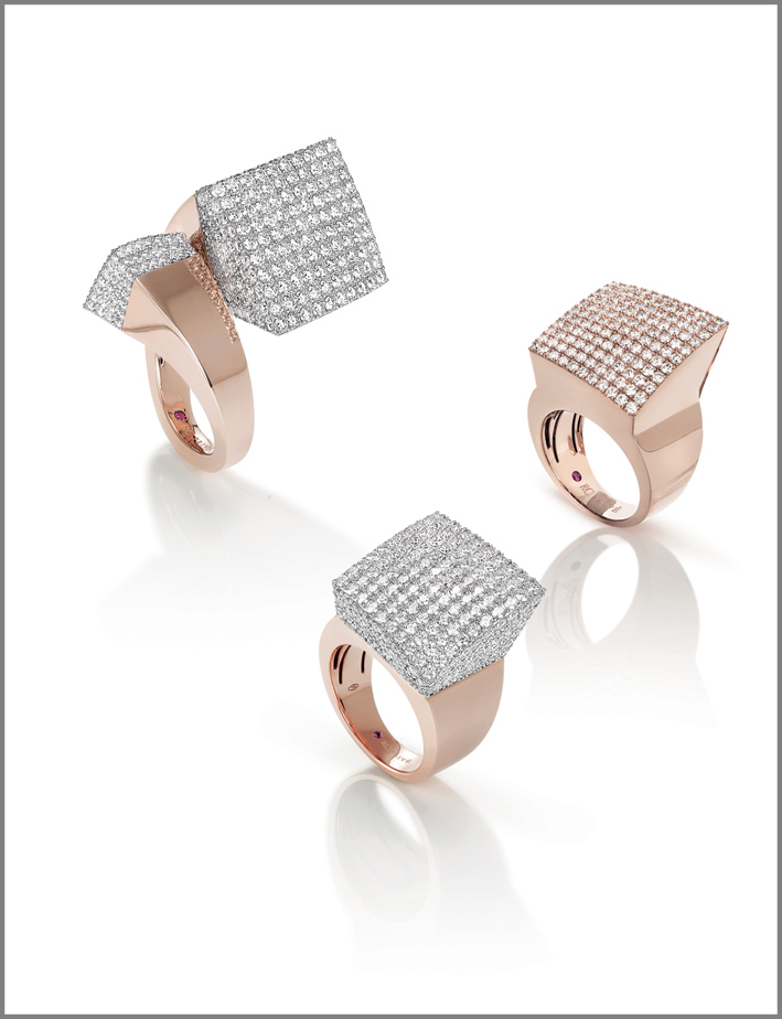 Rose gold rings with diamonds