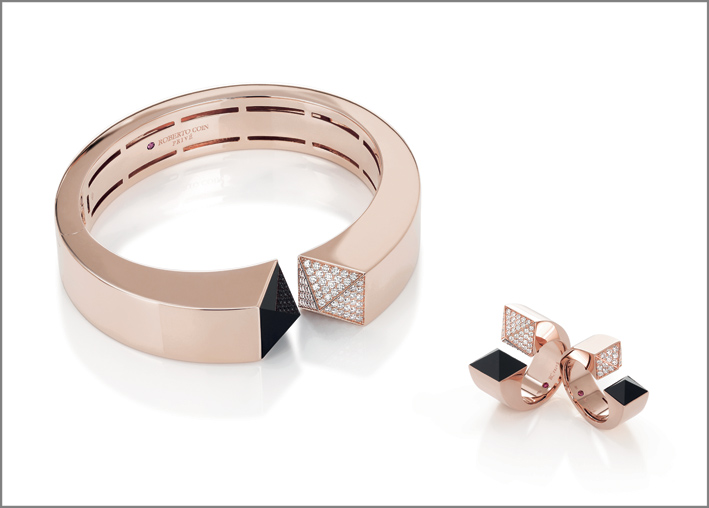 Rose gold cuff and rings with diamonds and black jade
