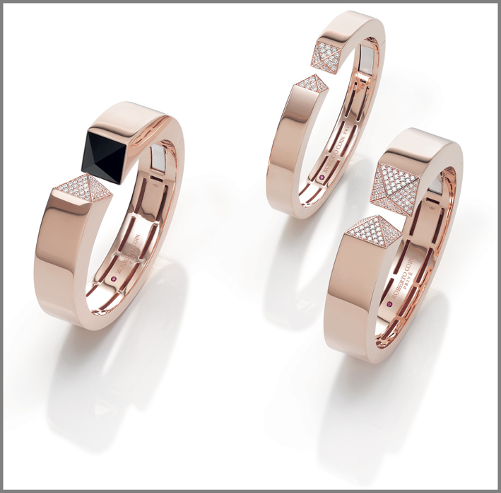 Rose gold cuffs with diamonds and black jade