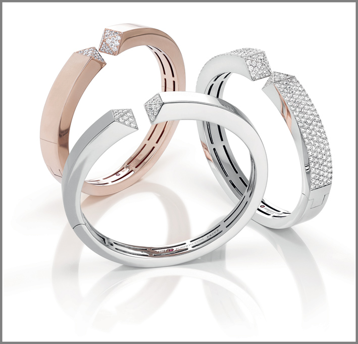 Rose and white gold cuffs with diamonds