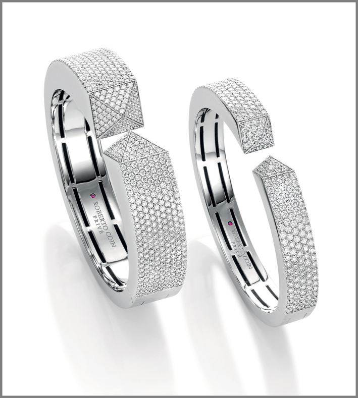 White gold cuffs with diamonds