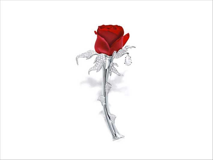 Spilla Foliage, oro bianco 18 carati, diamante taglio a rosa del peso di circa 5 carati