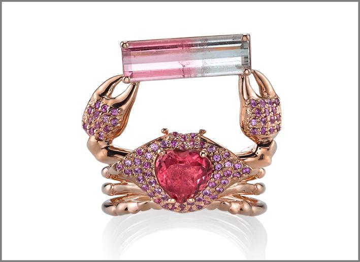 Anello Thalessa, in oro rosa 18 carati, tormalina, zaffiri, tormalina bicolore