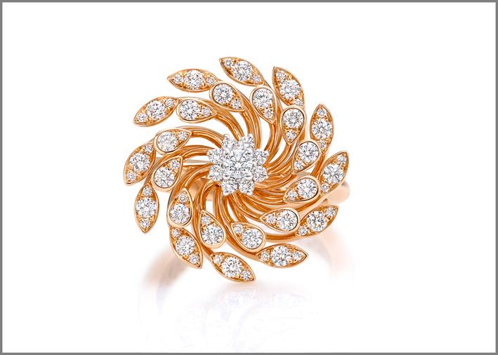 Giorgio Visconti, collezione  Luce, anello in oro rosa e diamanti