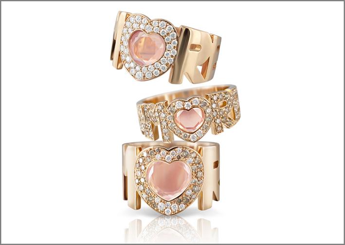 Bracciale e anello Amore 4 Chakra, oro bianco, diamanti, smeraldi