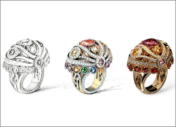 Disegno, elaborazione e realizzazione di un anello in oro e pietre