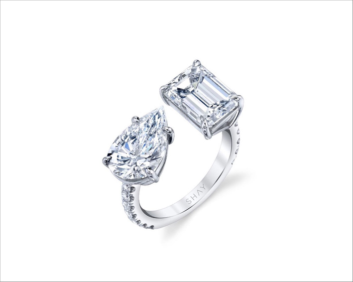 Anello in oro bianco toi et moi con diamanti