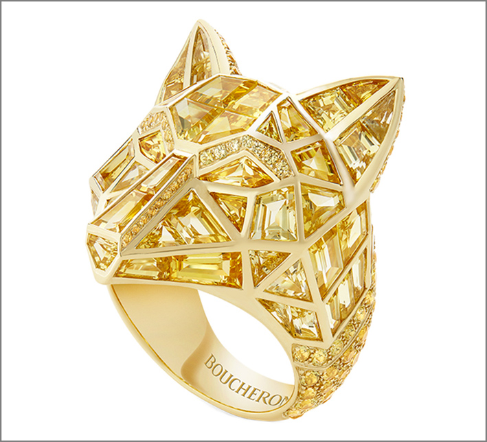 Boucheron, anello cane lupo in oro