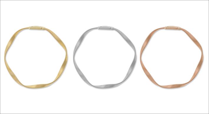 Bracciali in oro giallo , bianco e rosa