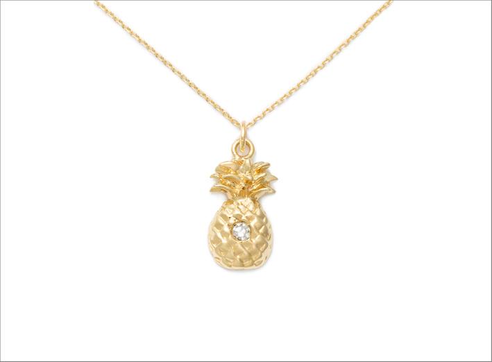 Collana con ananas oro 14 carati e diamante
