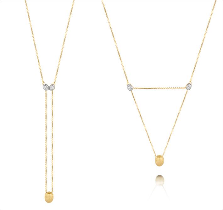 Collana regolabile in oro e diamanti. Un minuscolo silicone (invisibile) permette di modificare e mantenere differenti geometrie