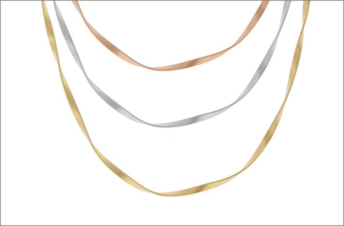 Collane in oro giallo , bianco e rosa