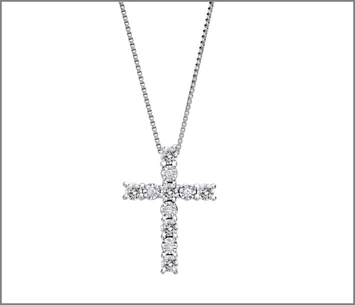 Pendente con croce, oro bianco e diamanti