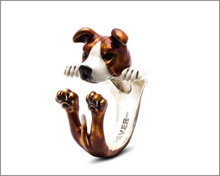 Dog Fever, anello Hug in argento e smalto