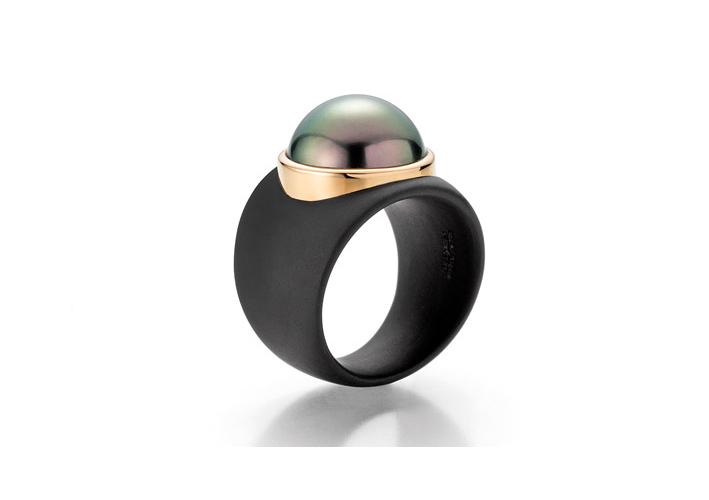 Gellner, anello di perle della linea Stars in Heaven, oro rosa 750, acciaio inossidabile annerito, perla di Thaiti