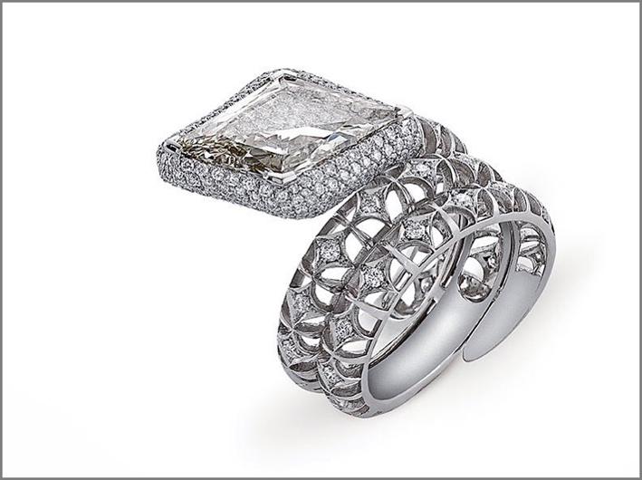 Anello della collezione Unum, con diamanti bianchi