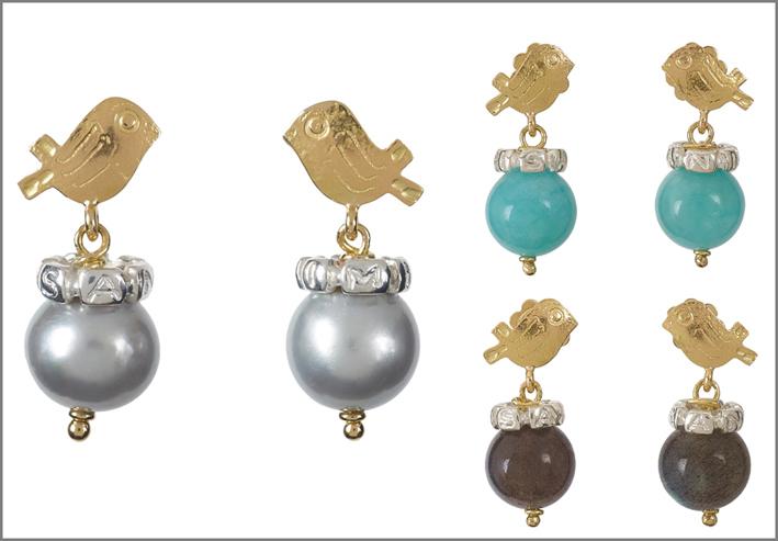 Misani, orecchini con pietre naturali (amazzonite e labradorite) o perla grigia