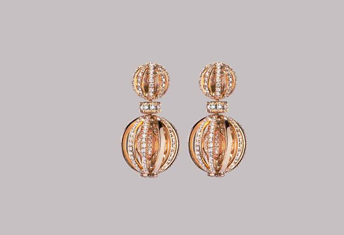 Anello in oro rosa e diamanti della linea Pavone di Mattia Cielo