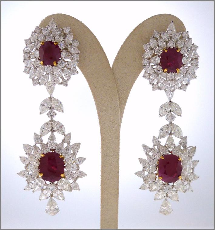 Orecchini con diamanti e rubini