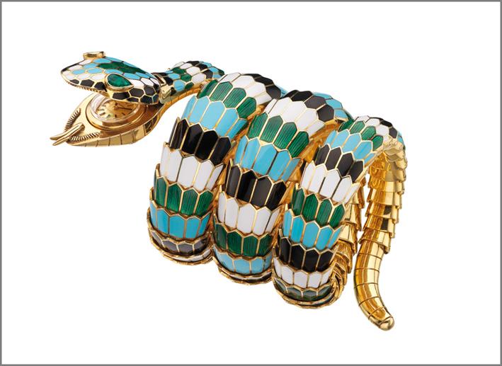 Il celebre bracciale serpente, in versione orologio