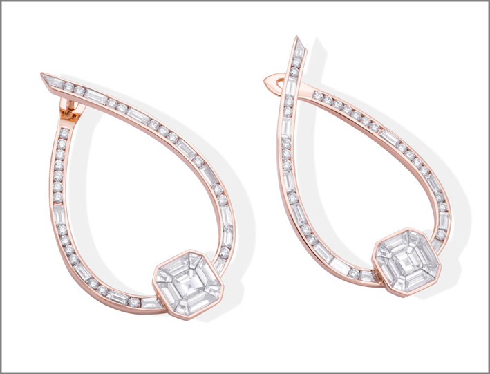 Stenzhorn, orecchini in oro rosa e diamanti