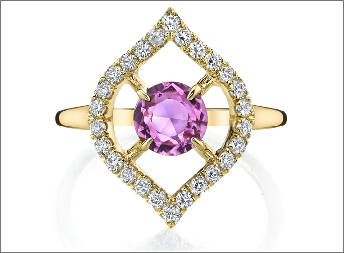 Pink Sapphire Nectar Drop Ring, in oro, diamanti e zaffiro