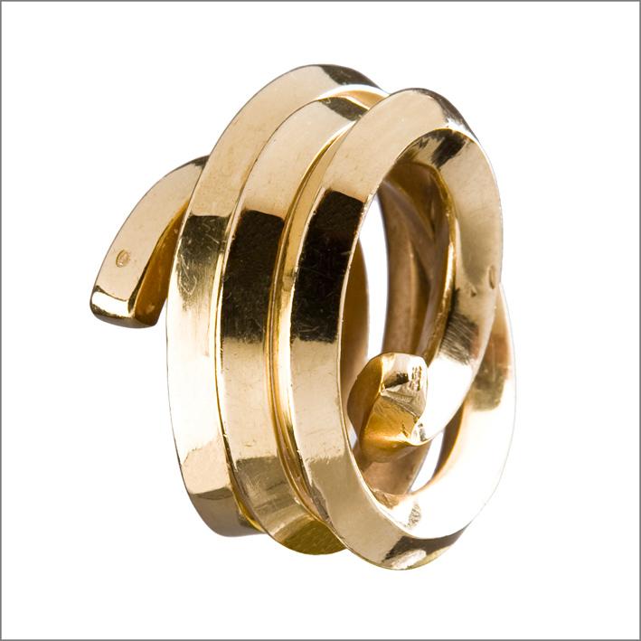 Bernar Venet, anello Ligne indéterminée, oro, 1998