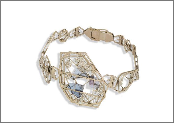 Bracciale Ice, oro, diamanti e acquamarina