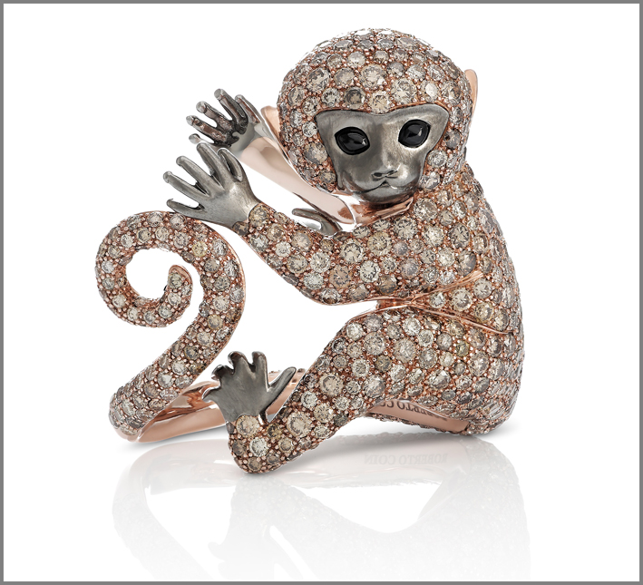 Cheeky Monkey. Rose and black gold ring with brown diamonds and black sapphires