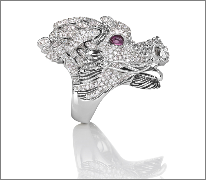 Dragons, white gold ring with diamonds and rubies