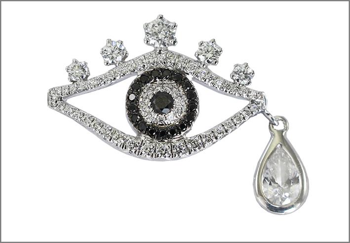 Eye, pavé di diamanti bianchi e neri