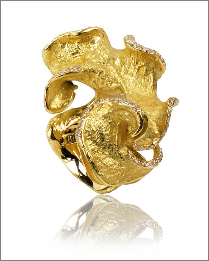 Anello Epluchure, oro 18 carati, e diamante bianco