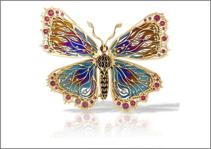 Farfalla in oro, titanio, pietre preziose. Personalizzabile