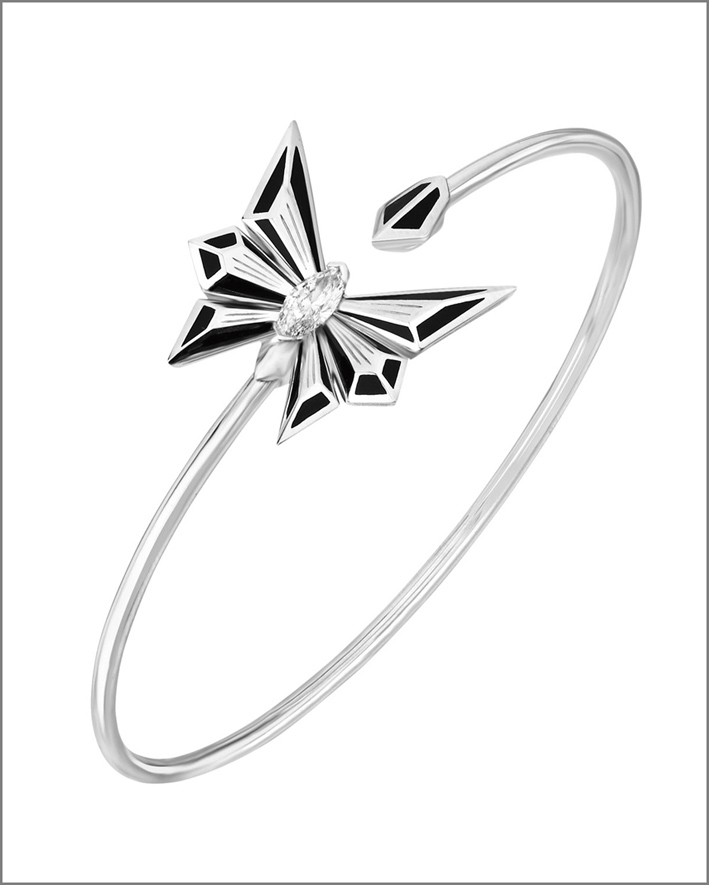 Collezione Fly  by Deco Drive, bracciale in oro bianco, smalto e diamanti